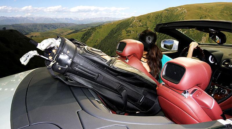 golf bag in car for road trip
